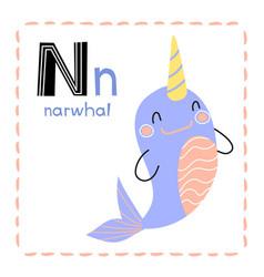 Alphabet letter n for narwhal for kids vector