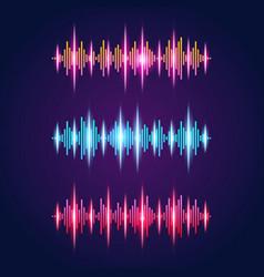 Audio equalizer neon set with sound waves symbols vector
