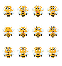 bee with different facial expressions vector image