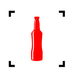 beer bottle sign red icon inside black vector image