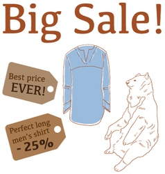 Big Sale with bear mens long shirt vector image