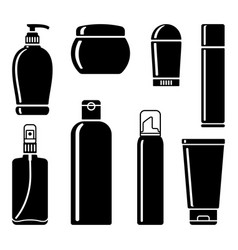 Bottles of cosmetic products vector