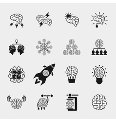 Brainstorming black icons set Creative brain idea vector
