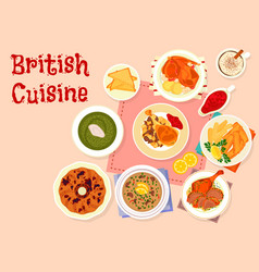 British cuisine traditional dinner menu icon vector