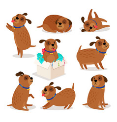 Brown funny cartoon puppies vector