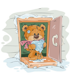 Brown teddy bear standing on the porch of vector