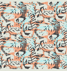 brush bold texture seamless blue and coral pattern vector image