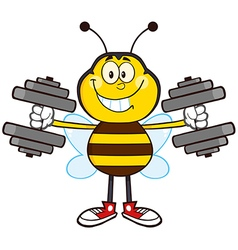 Bumble Bee Cartoon with Dumbbells vector image