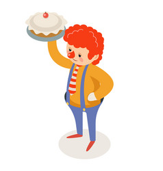 Cake throw prank pie clown isometric circus joke vector