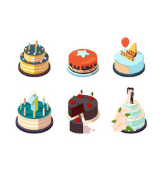 cakes tasty party bakery food cream cakes with vector image