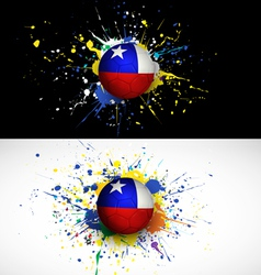 chile flag with soccer ball dash on colorful vector image