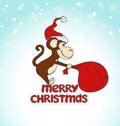 Christmas Greeting Card With Monkey Pulling A Big vector