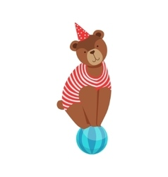 Circus Bear Animal Artist In Stripy Body Suit vector image