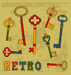 Collection of hand drawn retro keys vector