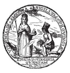 colonial seal virginia vintage vector image
