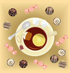 Cup of tea and sweets vector