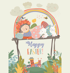 cute girl with easter rabbits and easter eggs vector image