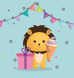 Cute lion with gift and ice cream kawaii birthday vector