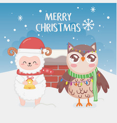 Cute owl and sheep chimney snow merry christmas vector