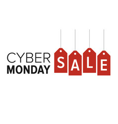 Cyber monday sale banner display with red hangtags vector