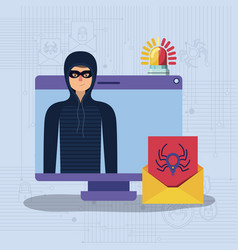 cyber security with computer and hacker vector image