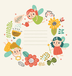 fairies on a floral background vector image