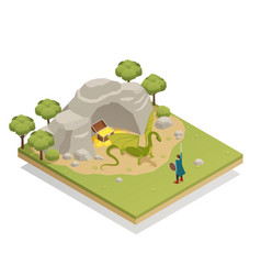 Fairy tale isometric composition vector