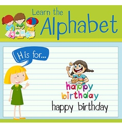 Flashcard letter h is for happy birthday vector