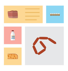Flat icon eating set of eggshell box cheddar vector