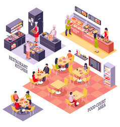 Food court design concept vector