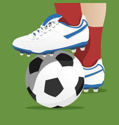 Footballer stepping on ball in a soccer match vector