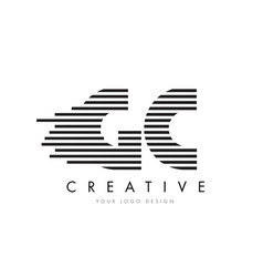 gc g c zebra letter logo design with black and vector image