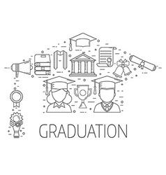 Graduation postcard concept vector