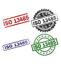 grunge textured iso 13485 seal stamps vector image
