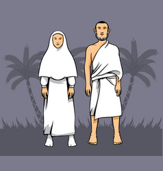 Hajj pilgrim couple vector