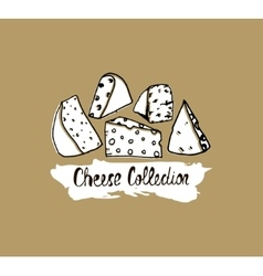 Hand drawn cheese background vector image