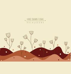 hand drawn floral line art graphic landscape vector image