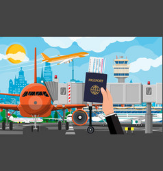 hand with passport ticket plane before takeoff vector image