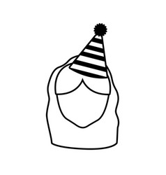 head face girl party hat outline vector image