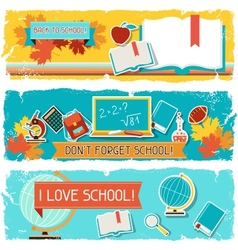 Horizontal banners with an of school objects vector