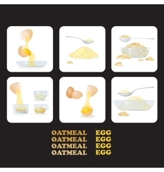 Icons eggs yolks white eggshells oat porridge vector