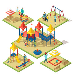Isometric amusement area composition vector