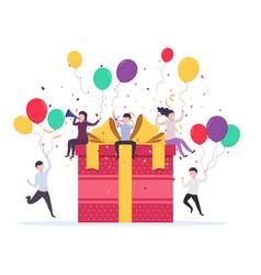Joyful people popping up near a gift box vector
