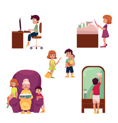 kids children home activities doing chores vector image