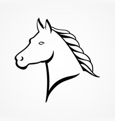 line art of a horse head vector image