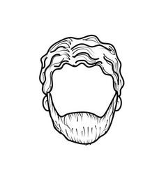 Line nice man face with haistyle and beard vector