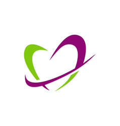 love heart abstract shape valentine logo vector image