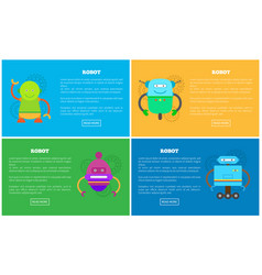 mechanical robots with funny faces promo posters vector image