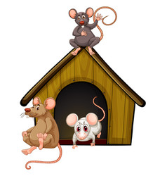 Mini house with many mouses on white background vector