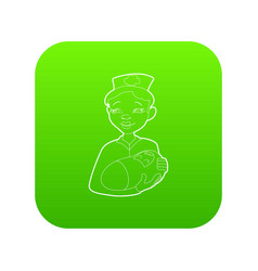 nurse with a newborn icon green vector image